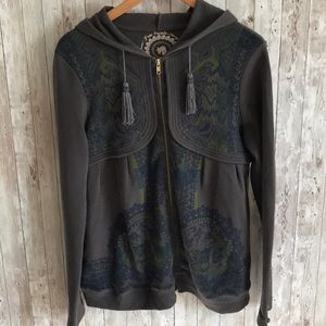 Free people gray zip up with Asian designs